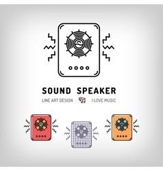 Sound speaker isolated line art icon musical vector