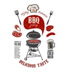 Bbq party vintage flyer template grill with vector