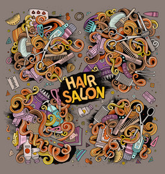 Cartoon set of hair salon theme objects vector