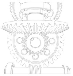 Gears with bearings and shafts close-up vector