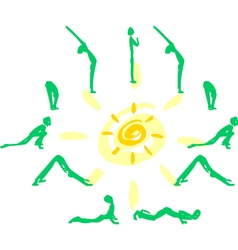 Yoga sequence sun salutation vector