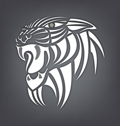 White silhouette of tiger on a black background vector