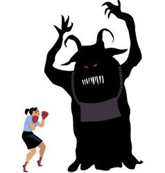 Woman fighting a monster vector