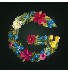 G letter flower capital alphabet colorful font vector
