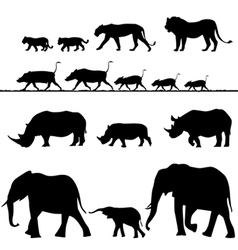 African animals silhouettes vector