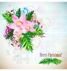 elegant christmas background with orchids vintage  vector image