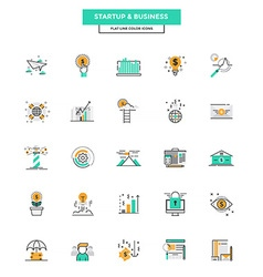 Flat line color icons business vector
