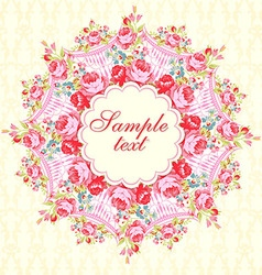 Floral round card with rose vector