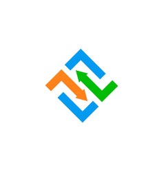 arrow shape square logo vector image