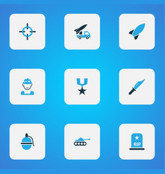 Battle colorful icons set collection of artillery vector