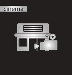 Black and white style icon building cinema camera vector