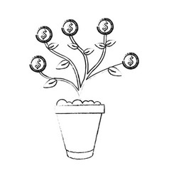Black blurred silhouette cartoon potted plant with vector