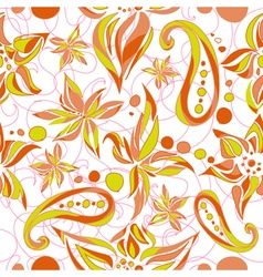 Bright green brown simple pattern with swirls and vector image vector image