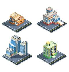 Building isometric icon set vector