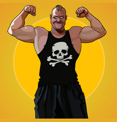 Cartoon big muscular man standing in the pose vector