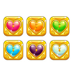 cartoon golden love amulets vector image vector image