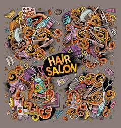 Cartoon set of hair salon theme objects vector