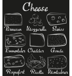 Chalk board sliced cut cheese assortment vector