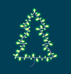 christmas abstract tree made of garland with lamps vector image vector image