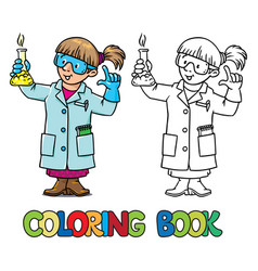 Coloring book of funny chemist or scientist vector