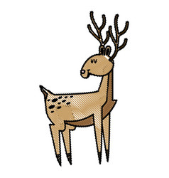 cute deer cartoon christmas horn image vector image