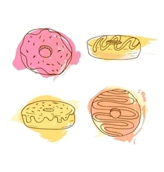 donut Set of 4 hand drawn vector image
