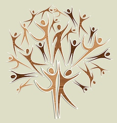 Family wooden human tree set vector