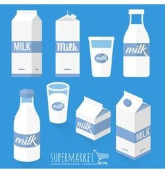Flat design milk icons vector image