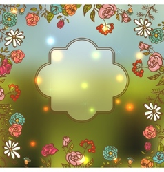 Flower Invitation Card Floral Frame with Ribbon vector image