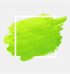 green watercolor stroke with white frame grunge vector image