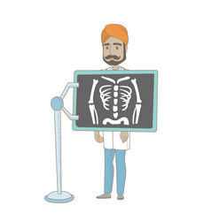 Indian roentgenologist during x ray procedure vector