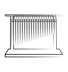 Isolated tubular bells outline musical instrument vector