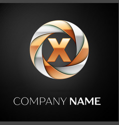 letter x logo symbol in the colorful circle on vector image