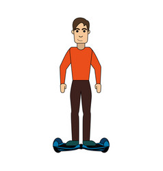 Man riding hoverboard icon image vector