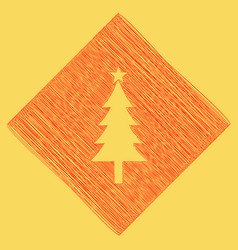New year tree sign red scribble icon vector