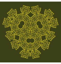 Oriental ornamental triangle mandala of green vector