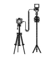 Photograpic camera with tripod vector