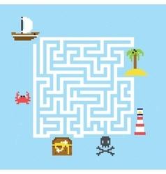 Pirate treasure maze vector image