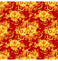 Red textile seamless pattern with golden flowers vector