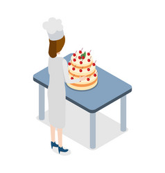 Restaurant confectioner standing near big cake vector