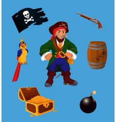 Set of pirate design elements vector image