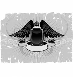 shield emblem with wings vector image vector image