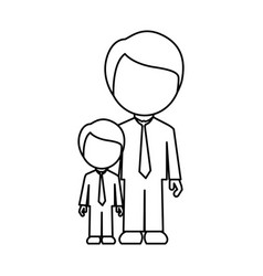 Silhouette man with his son icon vector