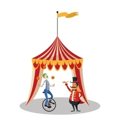 Tent and clown of circus and carnival design vector