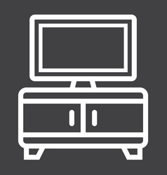 Tv bench line icon furniture and interior vector