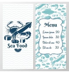 Two paged blue fish menu with graphic vector