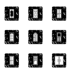 Types of doors icons set grunge style vector