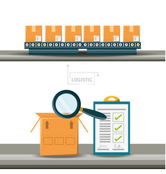 Warehouse boxes and cheklist logistic shipping vector