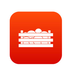 watermelons in wooden crate icon digital red vector image