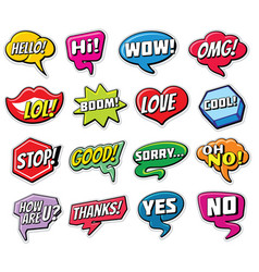 Web chat stickers templates internet words vector